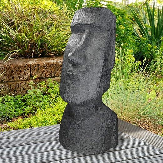 ECD Germany Estatua Adorno de Jardín Piscina Isla de Pascua Cabeza Moai Rapa NUI Tiki Figura Decorativa Figura de Resina Sintética Escultura Cabeza Ornamental Grande 78 cm Antracita Aspecto Basalto: Amazon.es: Hogar