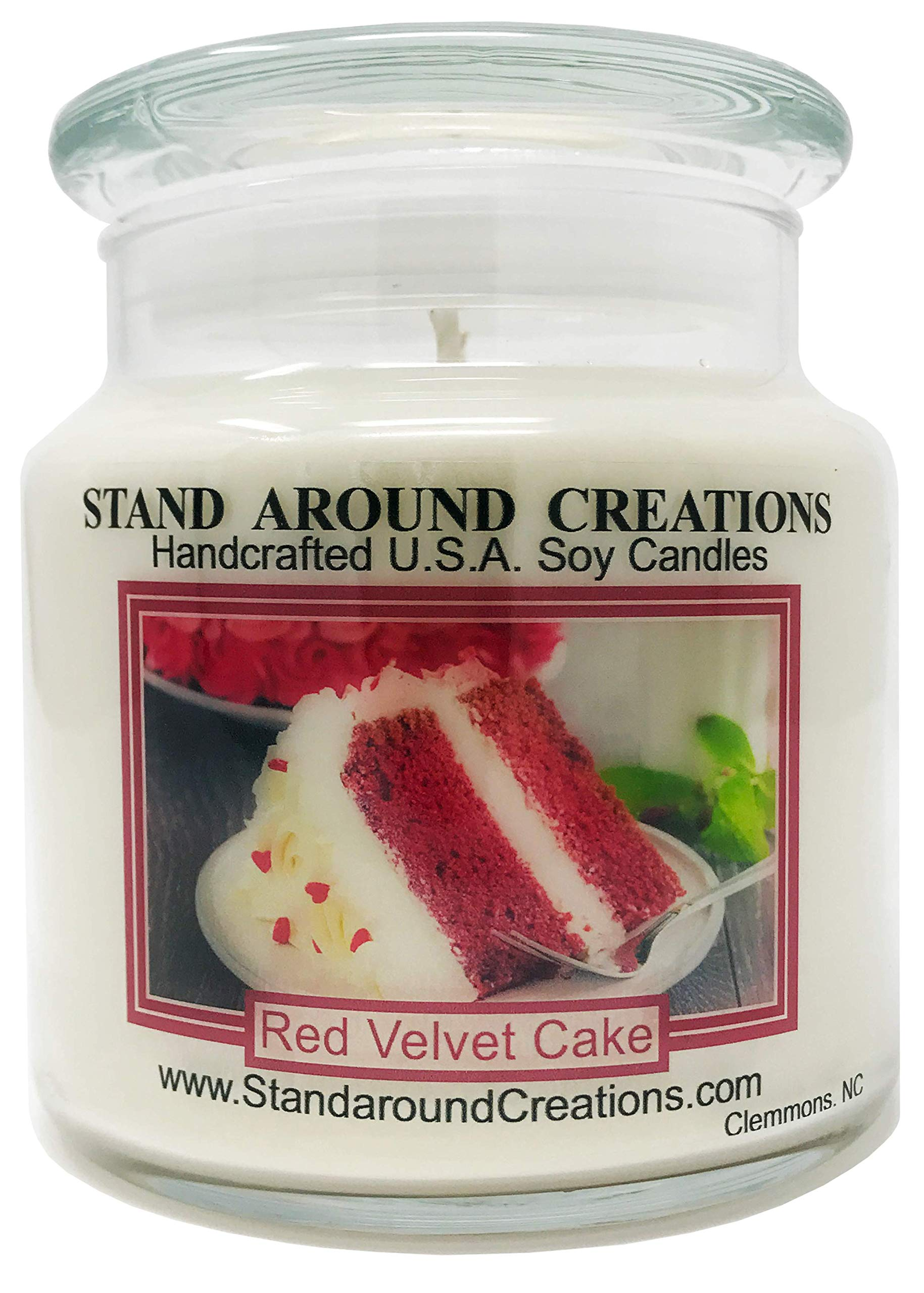 Premium 100% Soy Apothecary Candle - 16 oz. - Red Velvet Cake - A decadent blend of chocolate cake w/sweet cream cheese frosting. by Stand Around Creations (Image #1)
