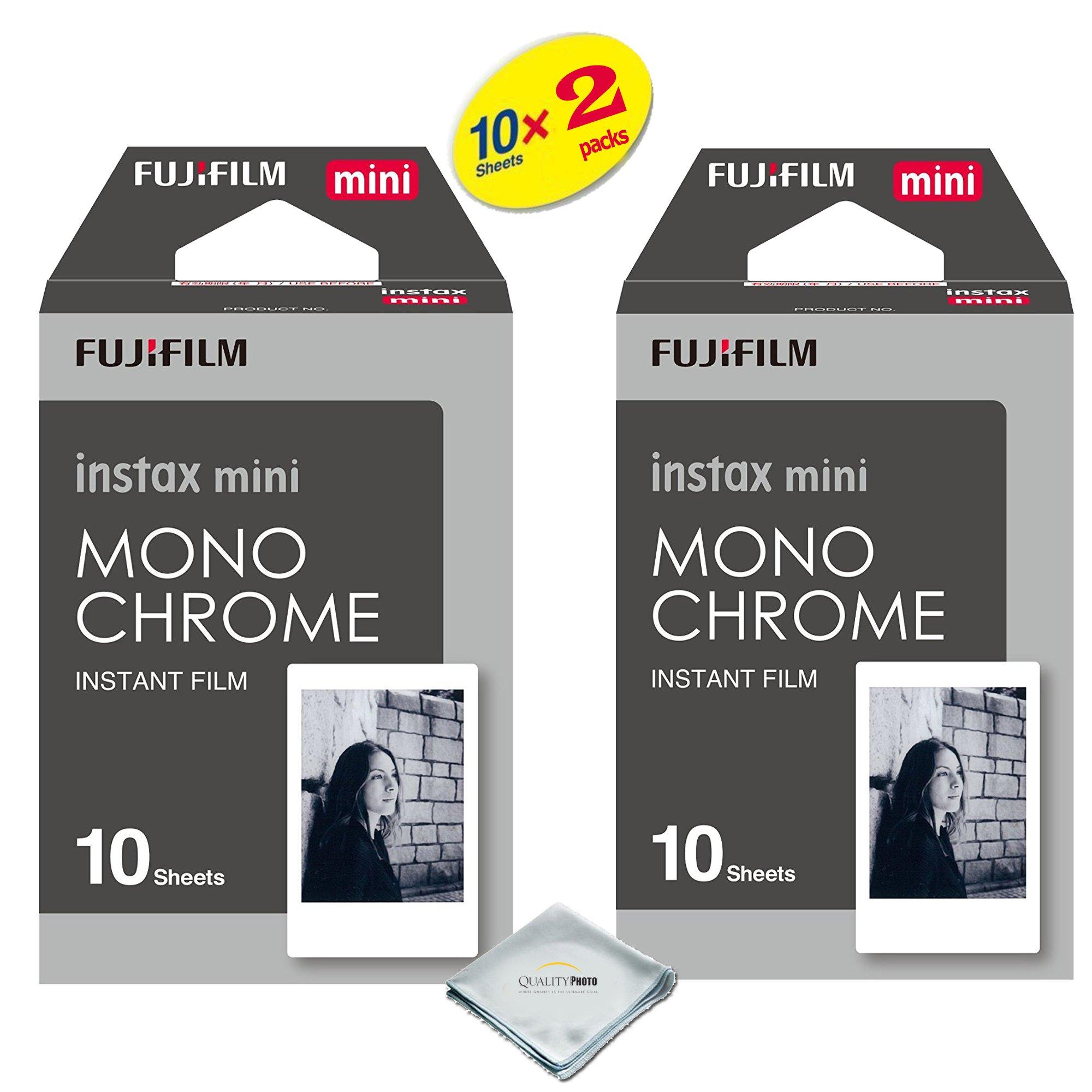 Fujifilm Instax Mini 8 & mini 9 Instant Film 2-PACK (20 Sheets) Value set For Fujifilm Instax Mini 8 & mini 9 Cameras - Monochrome … by Quality photo