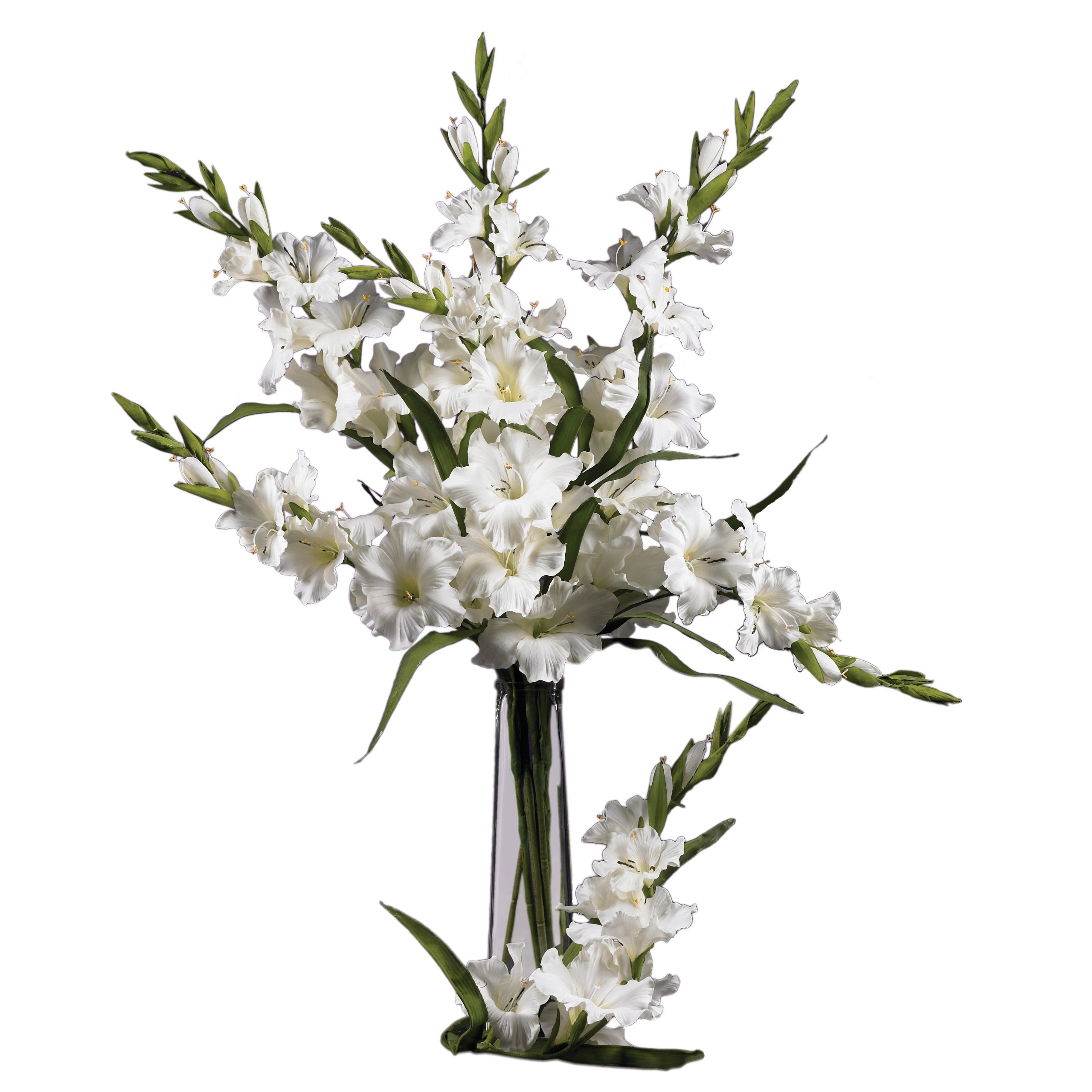 Nearly Natural 2122-WH 36'' Gladiola Stem (Set of 12) White by Nearly Natural