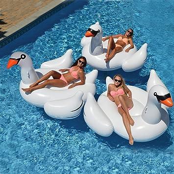 Wishtime Flotador Inflable Gigante de la Piscina del Cisne HQ17011 Verano de Verano Float Island Ride