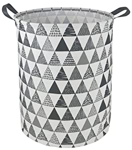 DUYIY Canvas Storage Basket with Handle Large Organizer Bins for Dirty Laundry Hamper Baby Toys Nursery Kids Clothes Gift Basket (Black Triangle)