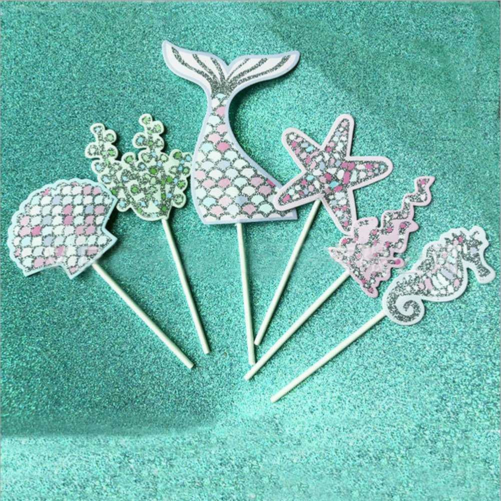 Bozoa (Set of 30) Mermaid Cupcake Topper Picks Mermaid Cake Decorations Supplies for Baby Shower Birthday Party Favors,Glitter Mermaid,Seashell,Seahorse,Starfish,Seaweed by Bozoa (Image #3)