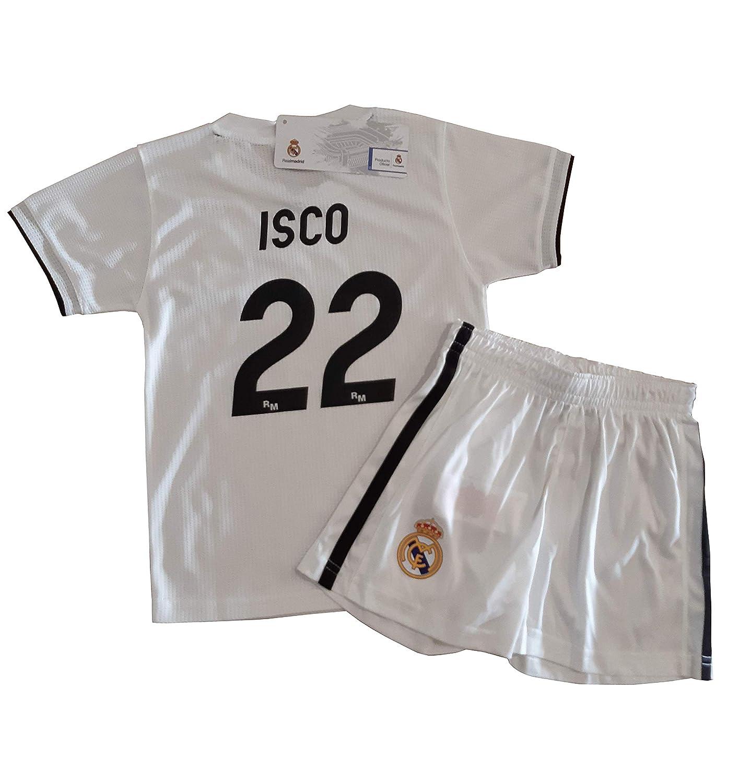 T-Shirt und Hose Set 1. Gang von Real Madrid 2018-2019 - Offizielle Replik Lizenziert - Rücker 22 ISCO - Kinder Größe 12 Jahre - Messungen Truhe 45 - Gesamtlänge 63 - Langarm 16.5 cm.