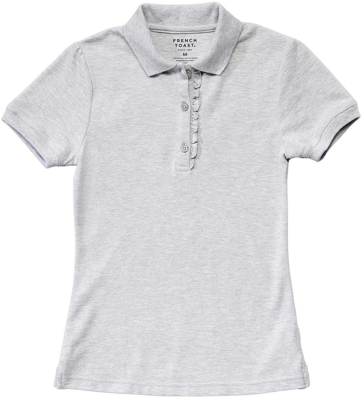 French Toast Little Girls' Short Sleeve Stretch Ruffle Polo, Heather Gray, XS (4/5)