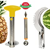 Fruit Slicer Kit - Fullest Fruit Cutting Set - Pineapple Slicer & Wedger - Watermelon Perfect Slicer - Melon Baller/Scoop -Commercial Grade Stainless Steel By Pura Vida