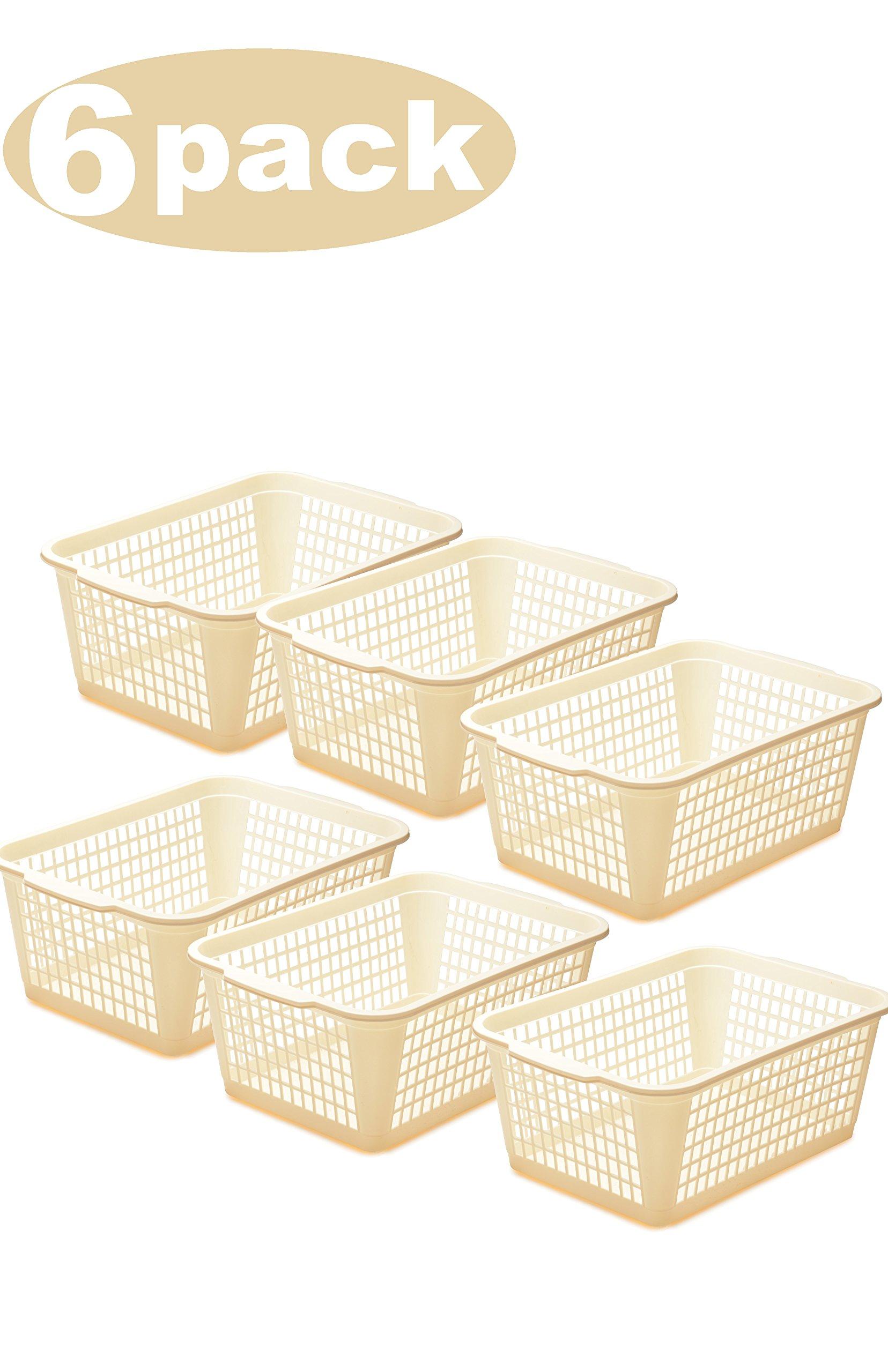 Ybmhome YBM HOME Plastic Perforated Storage Basket Bin Office Drawer, Shelf Desktop Countertop Tray Organizer 32-1184 (6, Ivory)