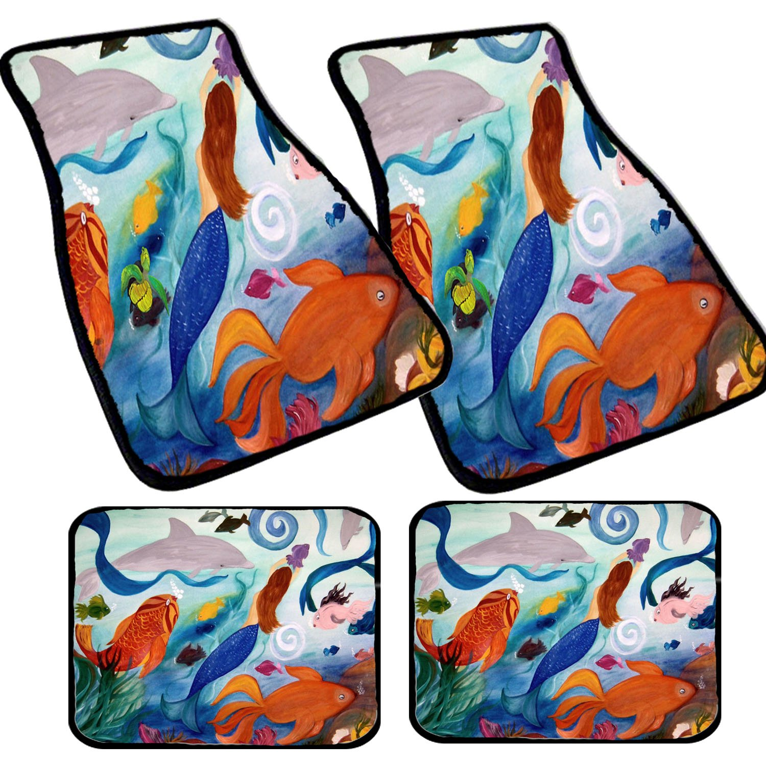 Mermaid and Tropical Fish Art Auto Car Floor Mat Sets