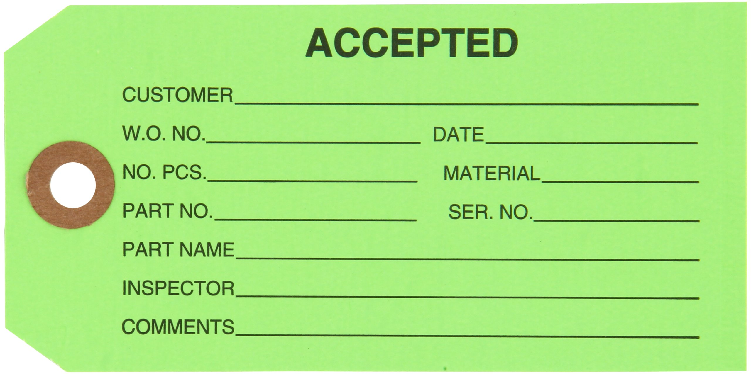 Aviditi Inspection Tag, Legend''ACCEPTED'', 13 Point Cardstock, 4-3/4'' H x 2-3/8'' W, Black on Green (G20021) by Aviditi