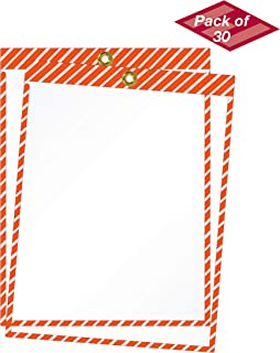 product image for EnvyPak Striped Job Ticket Holders (Orange and White Stripes) -Pack of 30 - Top-Loading with Brass Eyelet. This Color Combination is commonly Used to Designate Traffic or Caution Warnings
