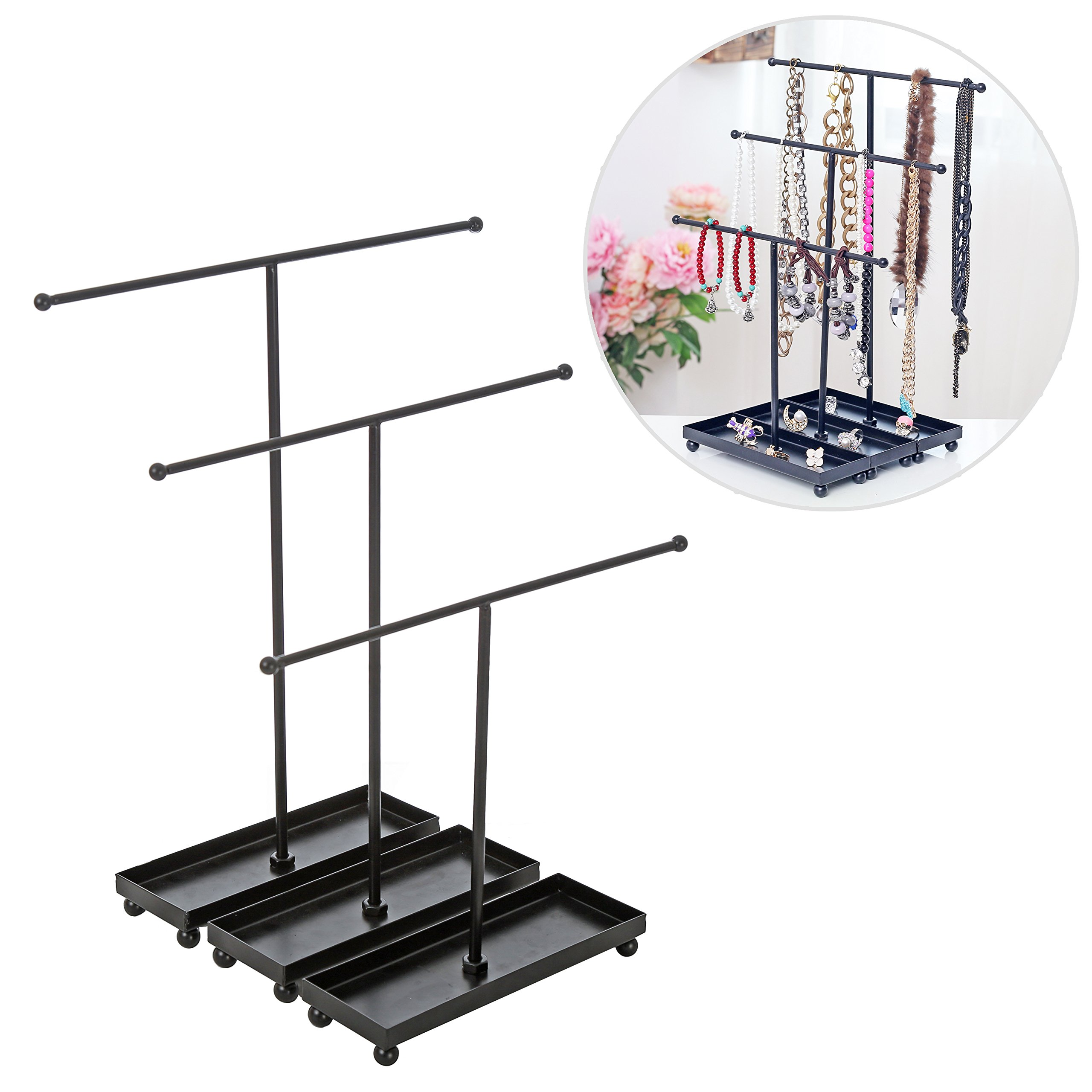 Set of 3 Modern Jewelry Organizers, Tabletop Bracelet & Necklace Hangers w/ Ring Dish, Black by MyGift (Image #2)