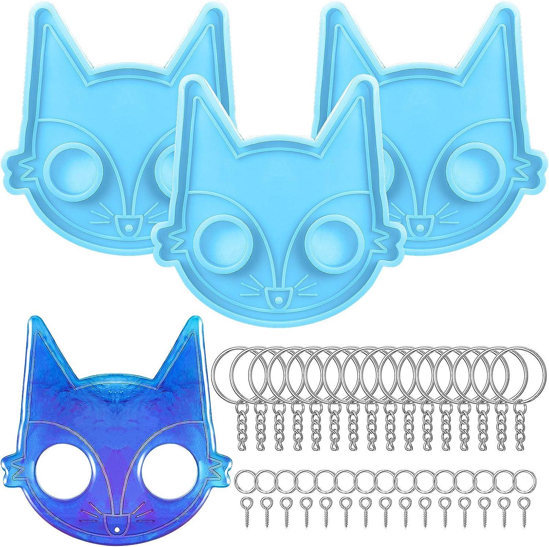 molde silicona para resina zorro pack 3 + 15 piezas llavero