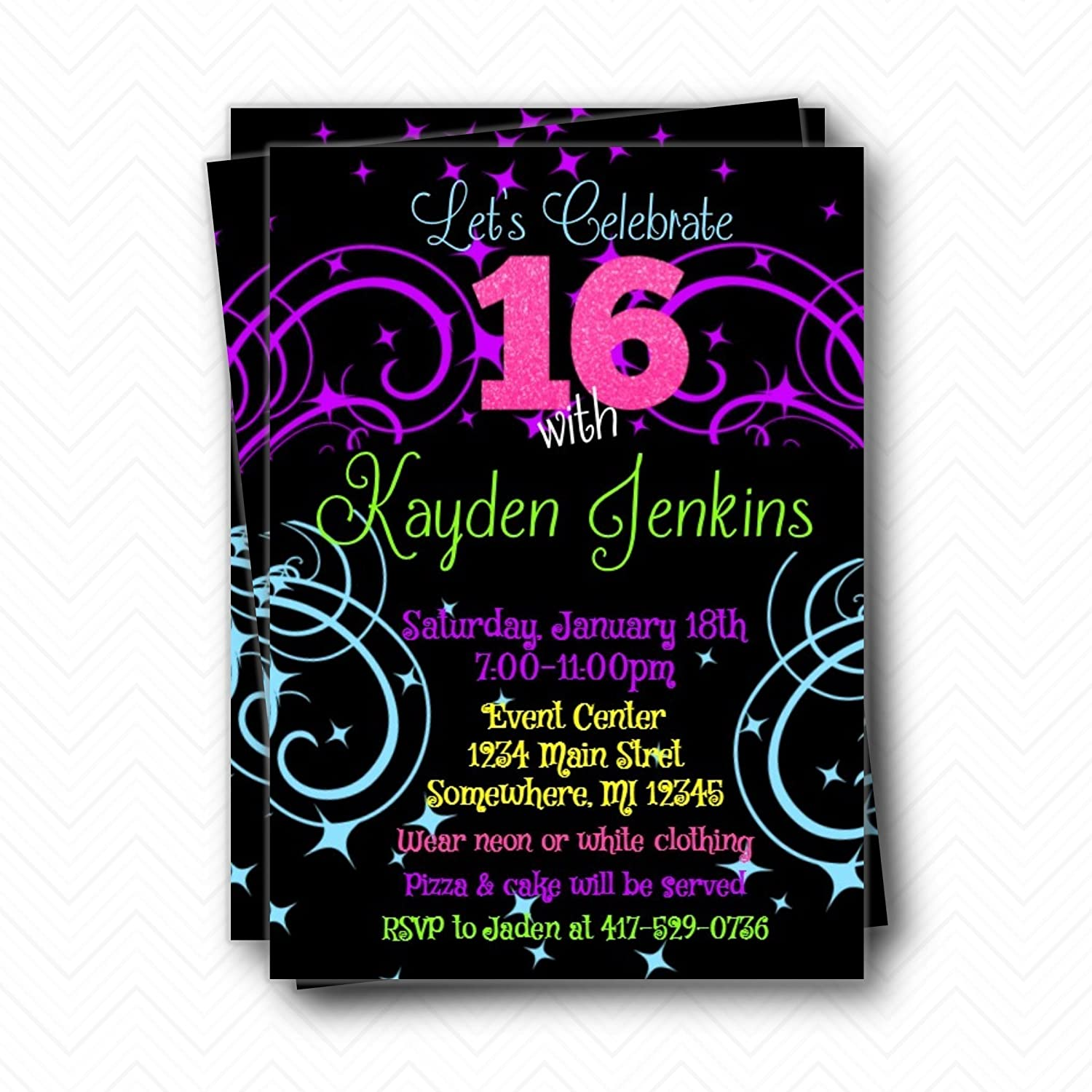 Amazon Neon Glow Sweet 16 Birthday Party Invitations