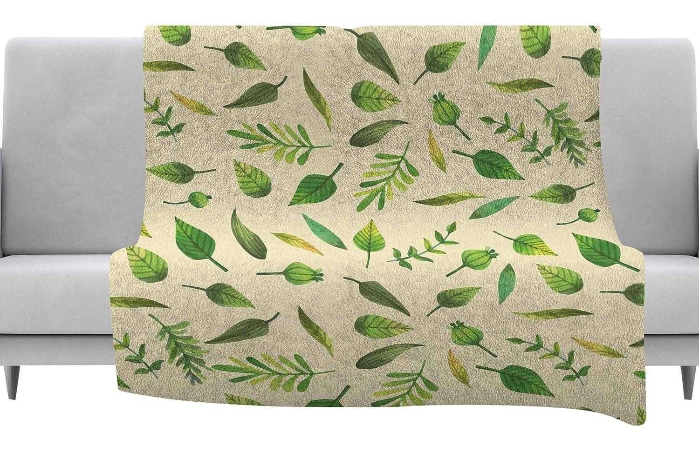 80 x 60 Fleece Blanket Kess InHouse Kess Original I Be-Leaf in You Beige Green Throw