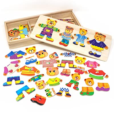 Lewo Wooden Jigsaw Puzzle Girls Educational Toys Bear Family Dress Up Games for Kids 72 Pieces: Toys & Games