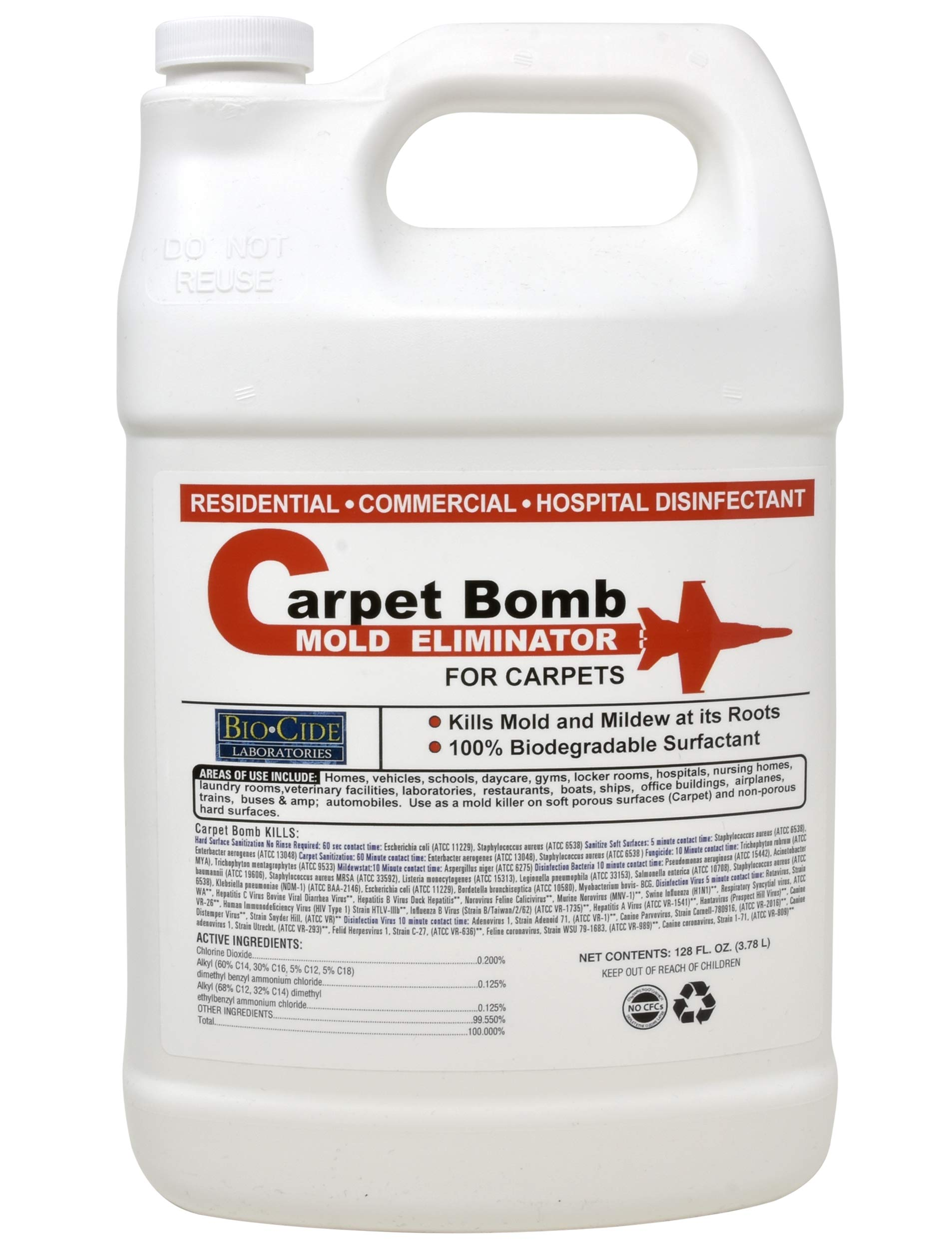 Biocide Carpet Mold Cleaner, Deep Stain and Odor Remover Solution, Mold Killer, Fogger, Deep Cleaner for all Surfaces, Fiber Materials, Rugs, Upholstery Fabric, Compatible with all Carpet Cleaners by Biocide Laboratories