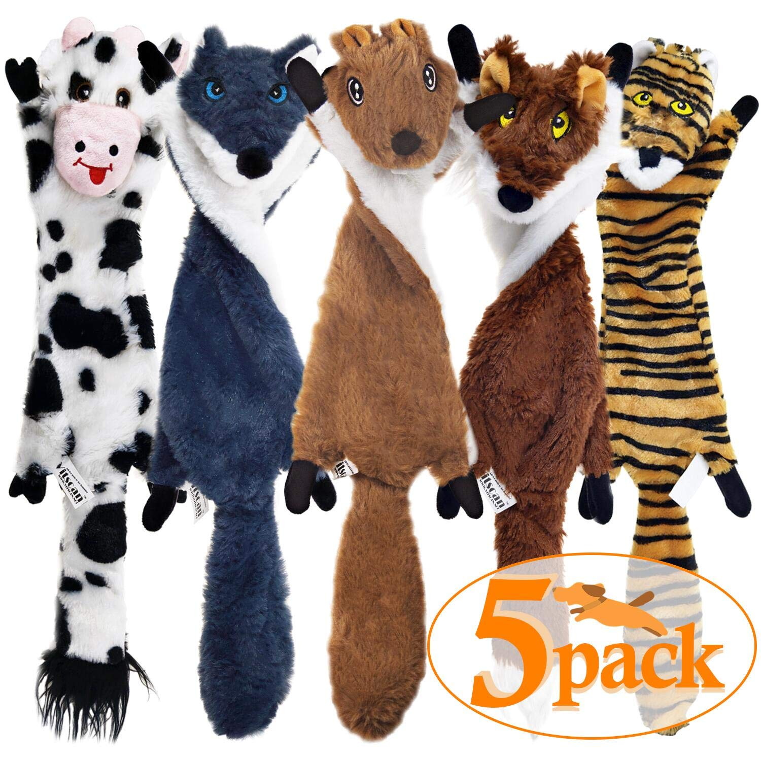 SHARLOVY Dog Squeaky Toys 5 Pack, Pet Toys Crinkle Dog Toy No Stuffing Animals Dog Plush Toy Dog Chew Toy for Large Dogs and Medium Dogs Squeeky Doggie Toys