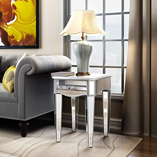 Mirrored Side Table with Drawer, End Table Nightstand Bedside Table for Living Room, Entryway, Bedroom, Hallway, Office