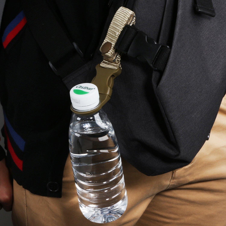 Clip EDC Botella de Agua Correa de Nailon FJROnline 3 Paquetes de Hebilla para Colgar al Aire Libre Soporte de Mosquet/ón para Acampada Senderismo