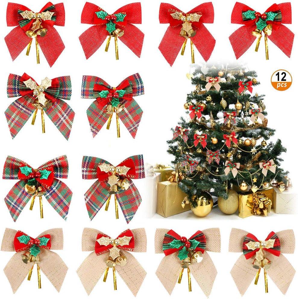Christmas Bowknot Ornaments 12pcs Christmas Tree Bows Xmas Tree Bows Decoration Christmas Ribbon Bows Ornaments For Christmas Tree Decor 12 Styles Amazon Ca Home Kitchen