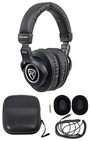 Rockville PRO-M50 Studio Stereo Headphones Detachable Cable Case Extra Ear Pad