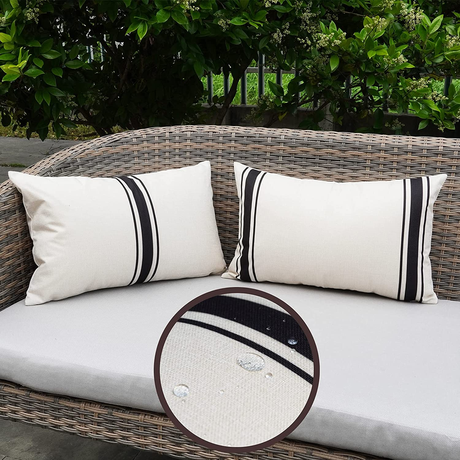 ONWAY Outdoor Pillow Covers Waterproof 12X20 Set of 2 Lumbar Throw Pillow Cover Black and White Striped Outdoor Pillows for Patio Furniture and Sunbrella