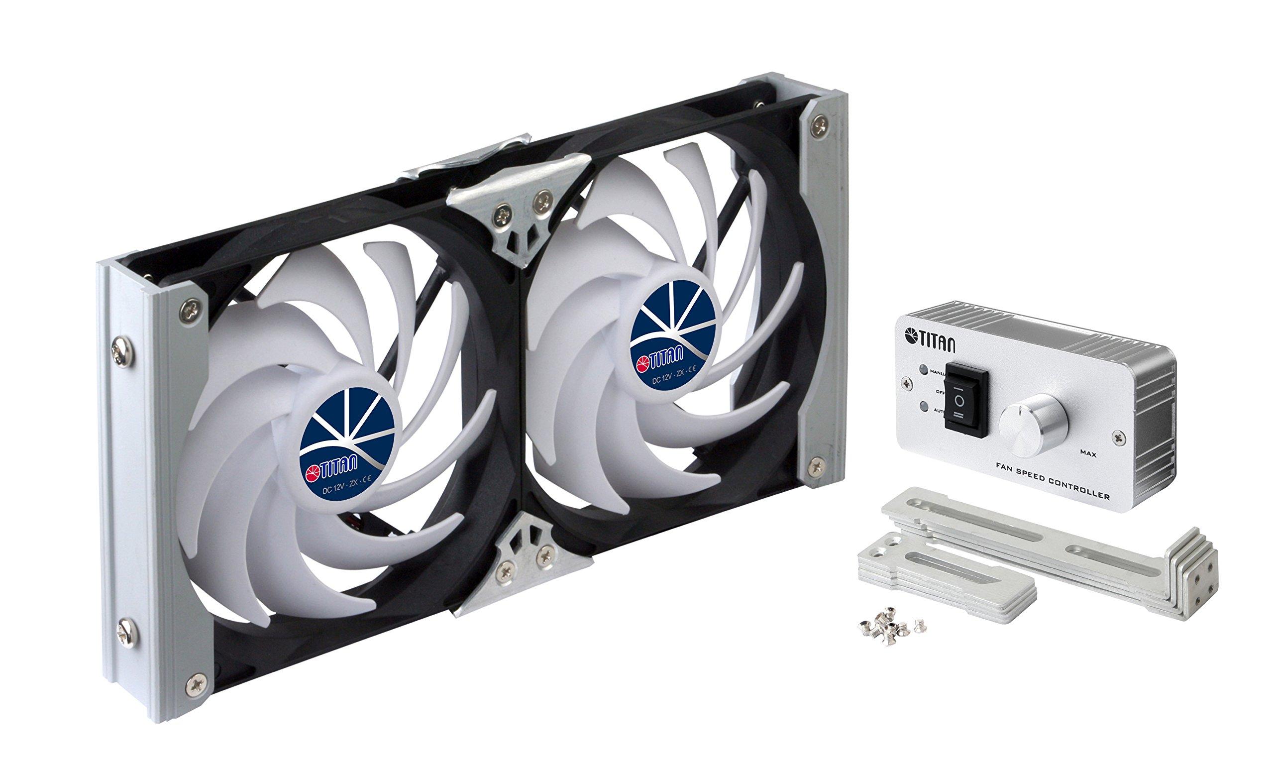 TITAN- 12V/24V DC 120mm Multi-function DIY Rack Mounting Double Refrigerator Fan with Speed Controller for Motorhome, Camper Van, Camper Truck, Trailer