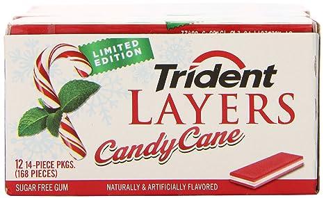 amazon com trident layers sugar free gum candy cane 14 piece 12