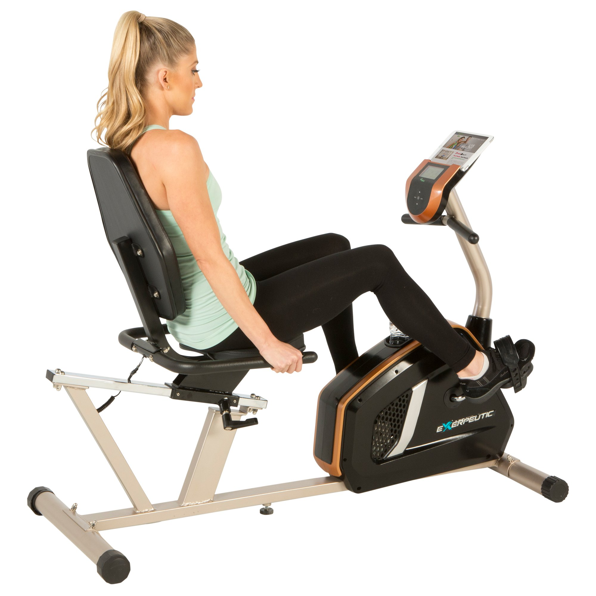 Exerpeutic GOLD 975XBT Bluetooth Smart Technology Recumbent Exercise Bike with 21 Workout Programs by Exerpeutic