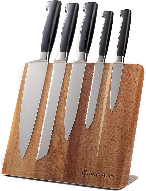 Hansek/üche Portacoltelli magnetico supporto per coltelli magnetico per conservare coltelli senza coltelli Blocco portacoltelli magnetico in legno di acacia di alta qualit/à con magnete