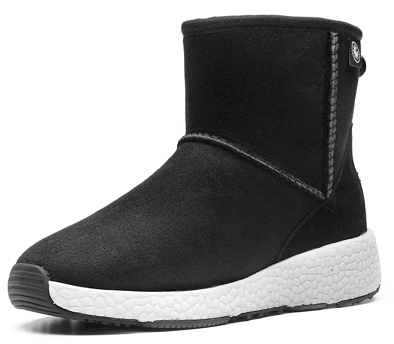 AU&MU Women's Full Fur Sheepskin Suede Winter Snow Boots B074J1Y6LZ 10 B(M) US|Black 5