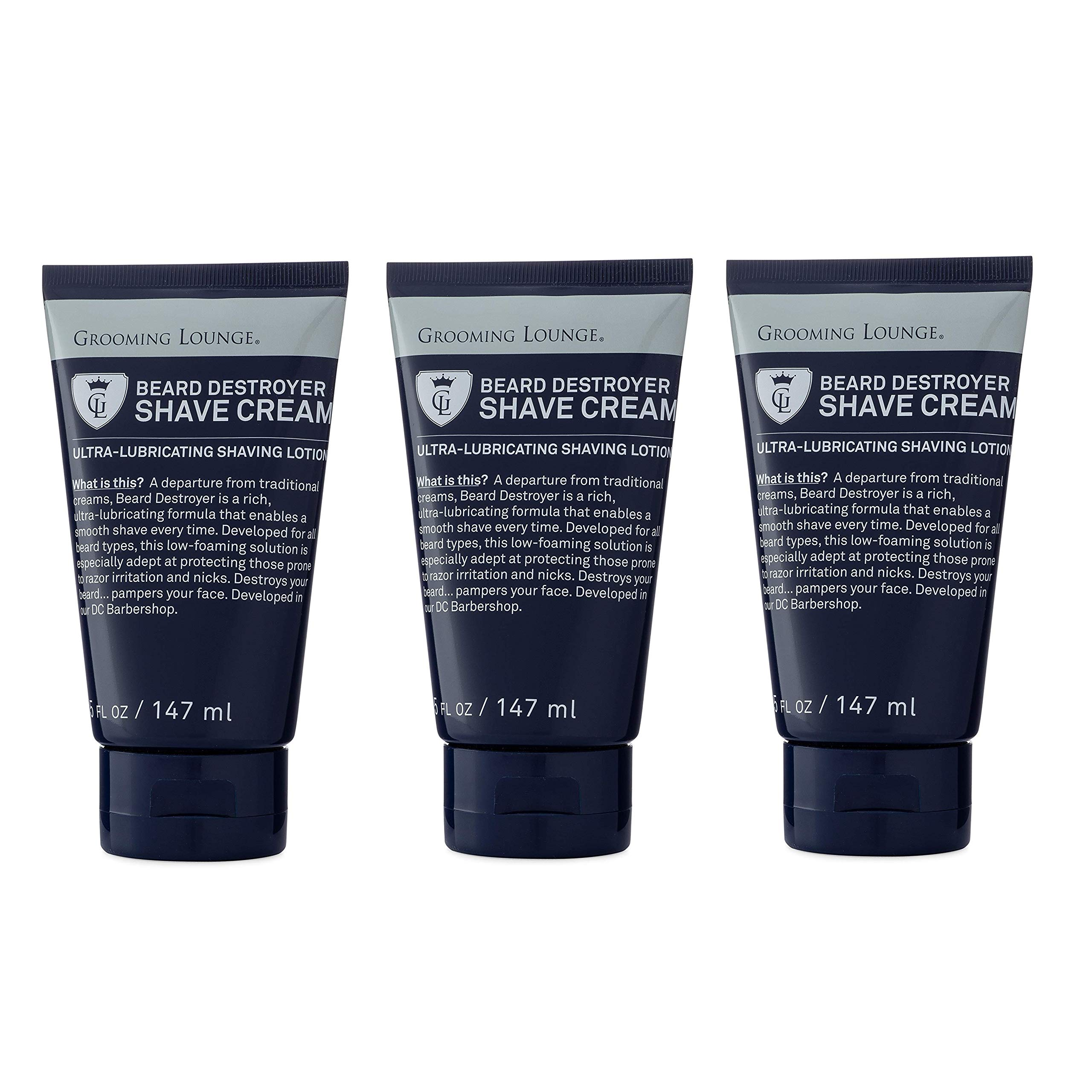 Grooming Lounge Beard Destroyer Shave Cream, Sensitive Skin, 5 oz, 3-Pack by Grooming Lounge