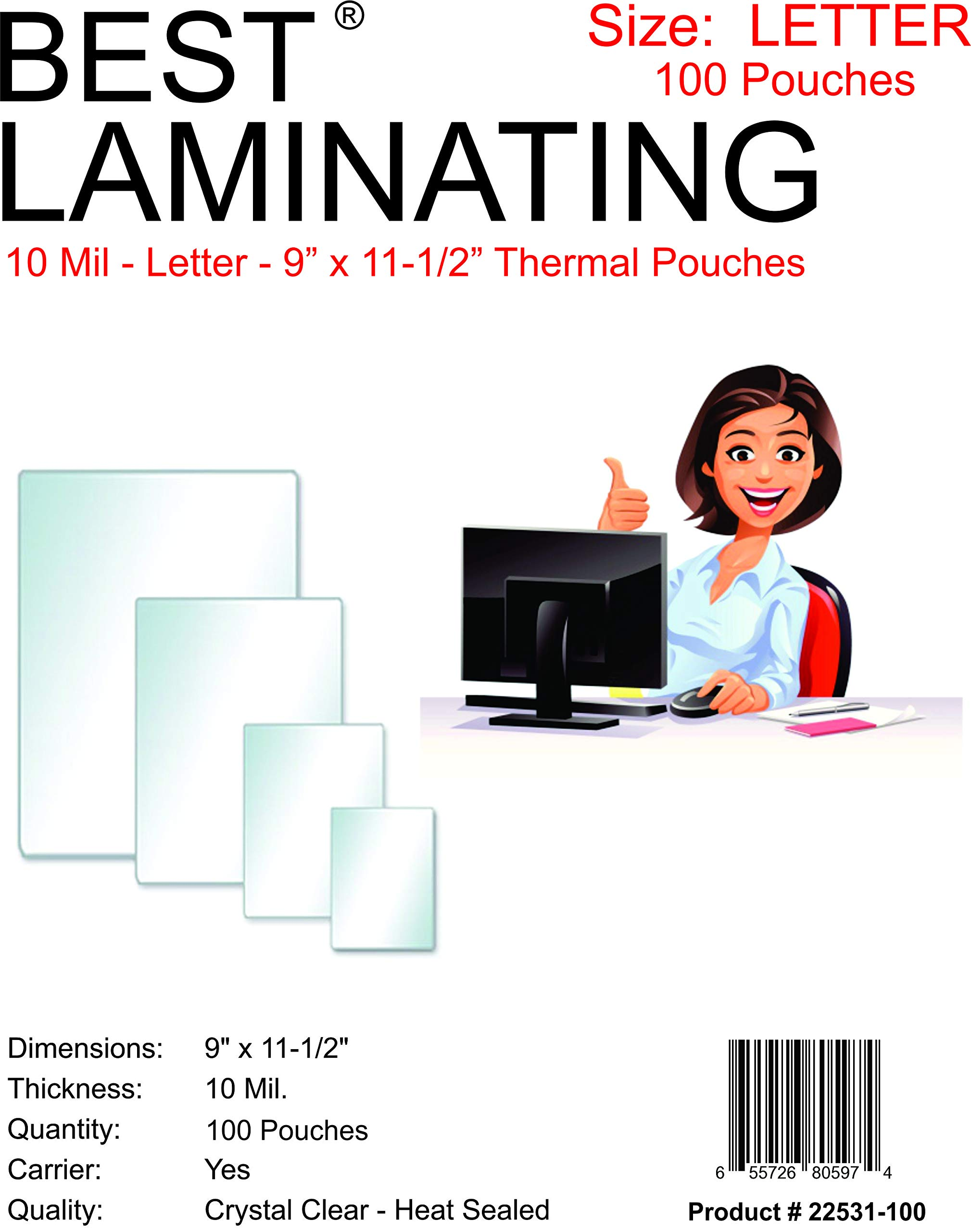 Best Laminating - 10 Mil Clear Letter Size Thermal Laminating Pouches - 9 X 11.5 - Qty 100