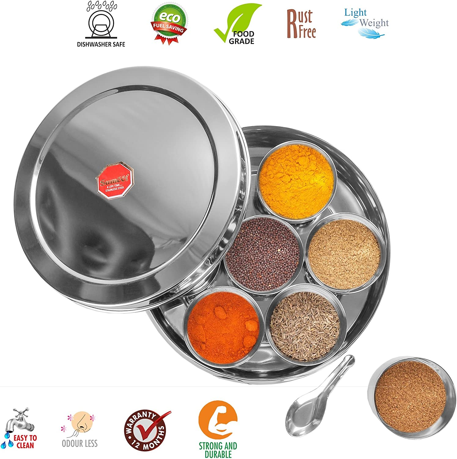Stainless Steel Belly Shape Masala Spice Box// Dabba// Organiser with Lid Large