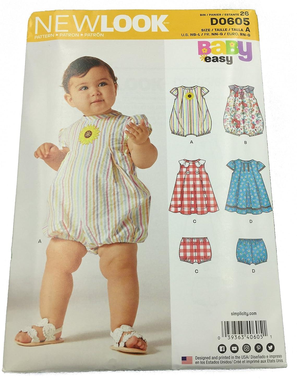 New Look Pattern 6520//D0605 - Pelele y vestido de bebé con diseño ...