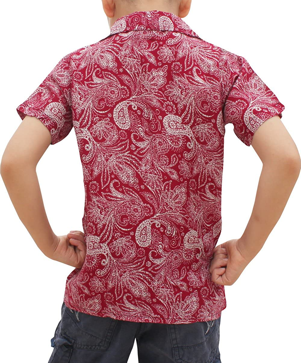 Raan Pah Muang Childrens Hawaiian Shirt in Summer Printed Rayon Paisley Art