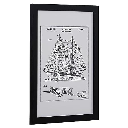 Modern Metallic Ink Reprint of Sailing Ship Patent, Black Frame, 15 x 21
