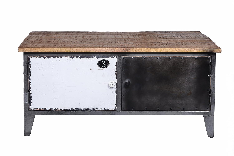 Couchtischtruhe Korpus Metall mit Mangoholz lackiert Korpus schwarz, Fronten bunt