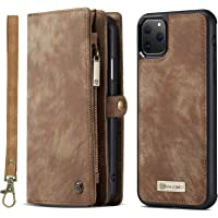 Simicoo iPhone 11 Pro Max Leather Wallet Detachable Zipper Case (Brown)