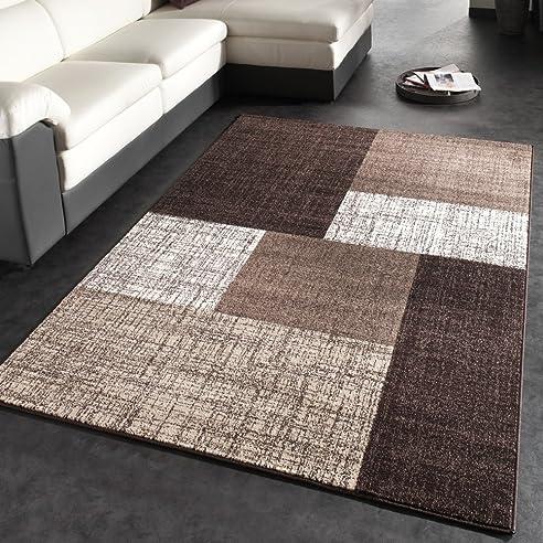 Designer Teppich Modern Kariert Kurzflor Teppich Design Meliert In