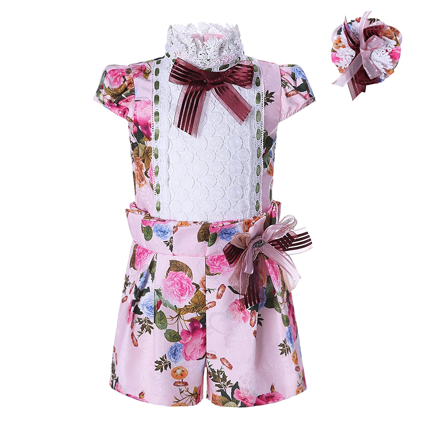 Lajinirr Girls Clothes Set Jumpsuit Lace Jacquard Floral Printed Sleeveless Tops and Shorts Outfits 2-12 Years Floral Girl-1330