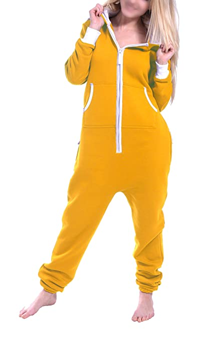 d7ae2d1a9b8a Yellow Gold Hooded One Piece Sweatsuit Jumpsuit Onesie for Women Men