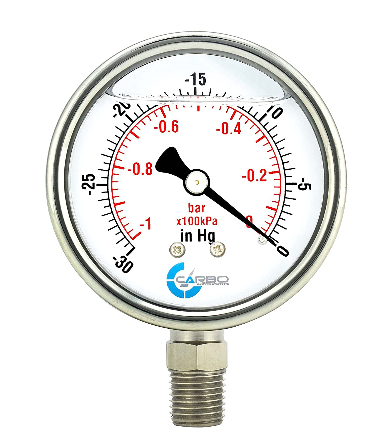 "CARBO Instruments 2 1-2"" Pressure Gauge, Stainless Steel Case, Chrome Plated Brass Connection, Lqiuid Filled, Vacuum -30 Hg/0, Lower Mount 1/4"" NPT"