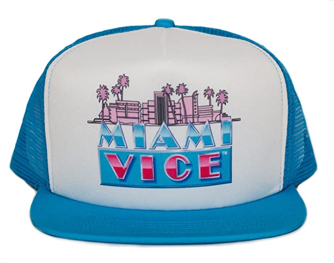 89adce19 Image Unavailable. Image not available for. Color: Miami Vice 80s Unisex-Adult  One-size Trucker Hat Aqua/White