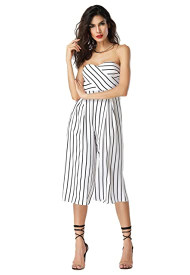 91b57a71f063 Amazon.com  Clarisbelle Women s Off Shoulder Sleeveless Strapless Stripe High  Waist Wide Leg Long Pants Jumpsuit Romper  Home   Kitchen
