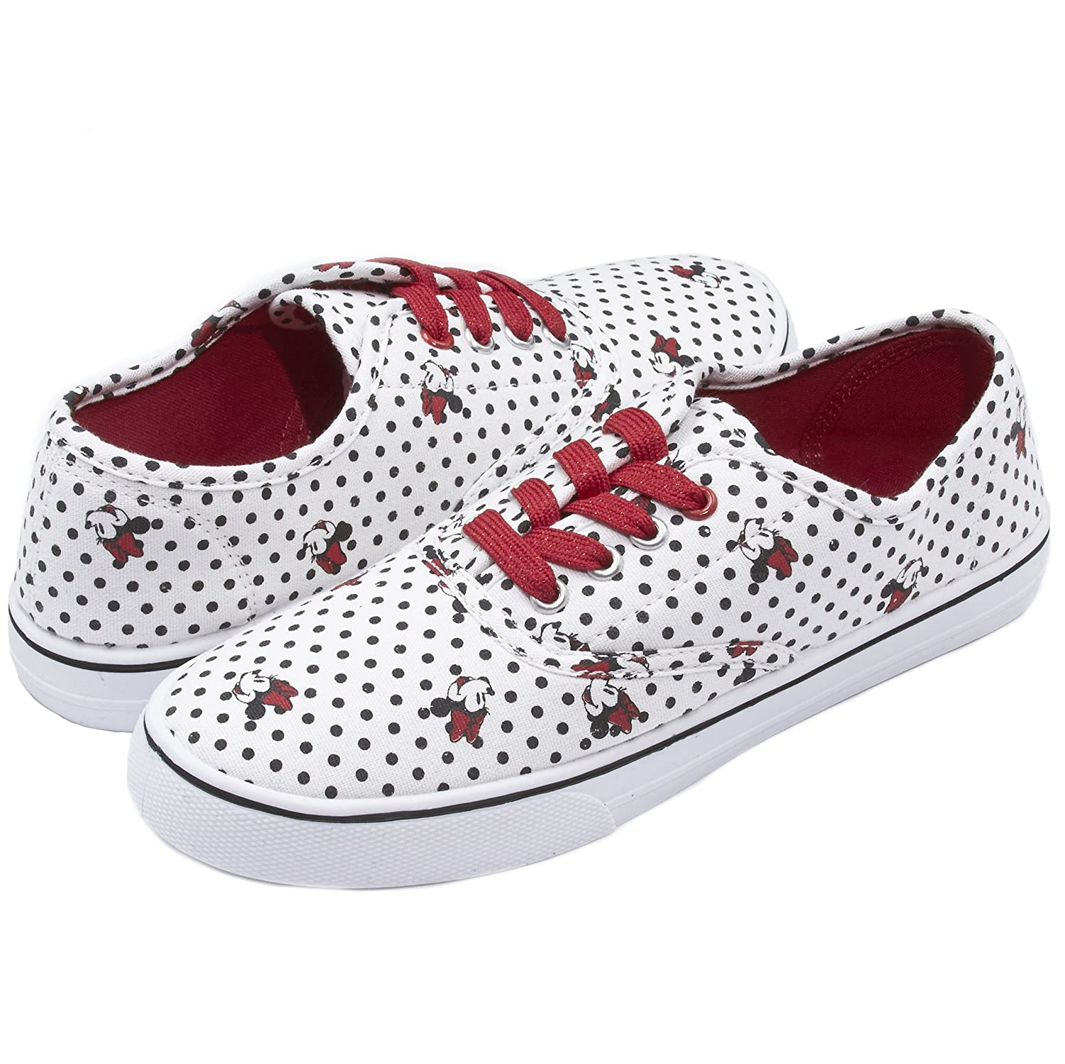 Disney Junior Teen Girls Low Top Mickey and Minnie Fashion Sneakers (See More Designs and Sizes) B074CF1KY1 11 B(M) US White
