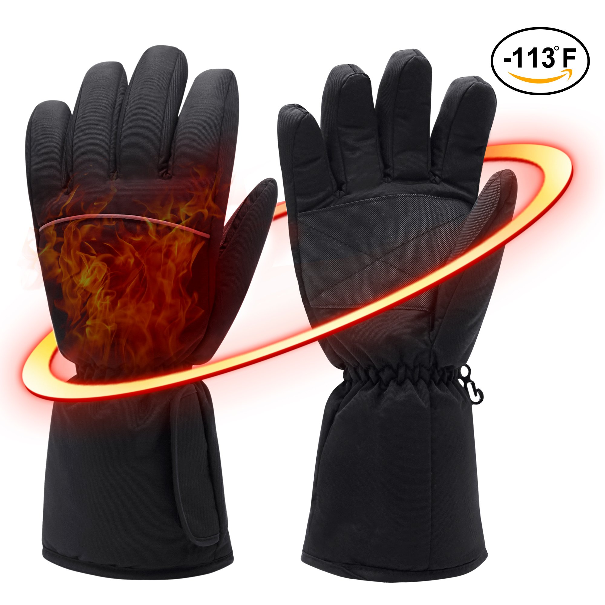 Rechargeable Electric Heated Gloves for Cold Winter - 6 AA Battery Operated Winter Heated Gloves for Men Woman Outdoor Indoor Activities Snowboarding, Shredding, Shoveling, Snowballs, Riding, Climbing