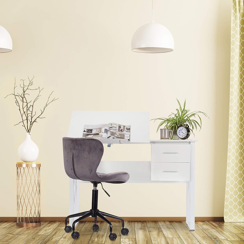 75 x 110 x 55 cm Relaxdays Scrivania Orientabile da Disegno o per PC HLP 75x110x55cm Supporto Inclinabile Bianco