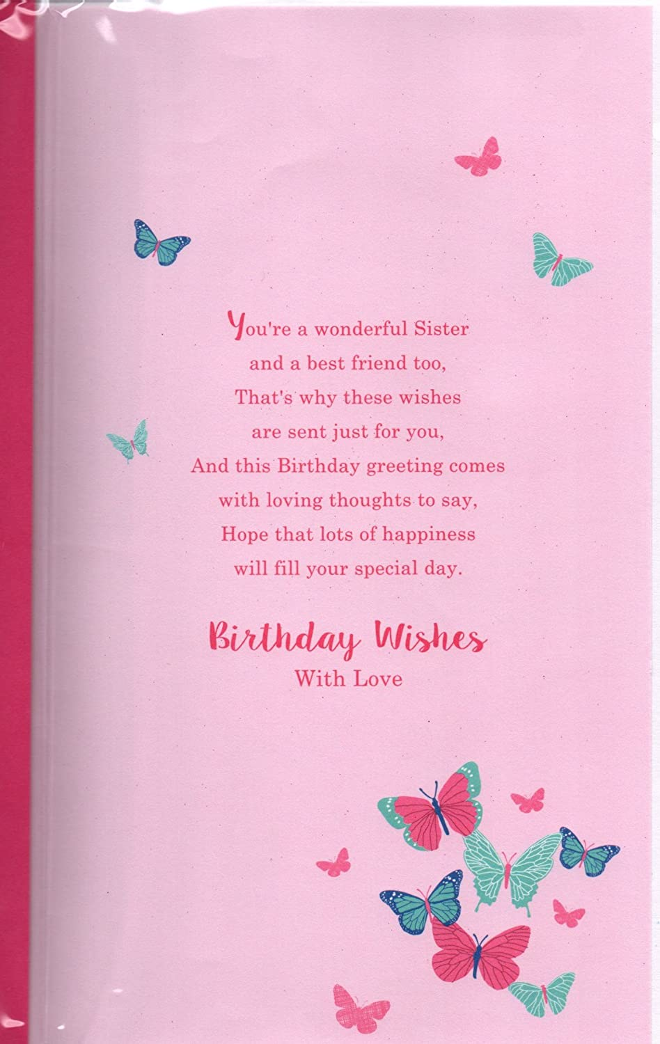 Sister Birthday Card Birthday Wishes Sister With Lots Of Love At
