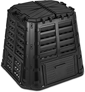 Garden Composter Bin Made from Recycled Plastic – 110 Gallons (420Liter) Large Compost Bin - Create Fertile Soil with Easy Assembly, Lightweight, Aerating Outdoor Compost Box – by D.F. Omer